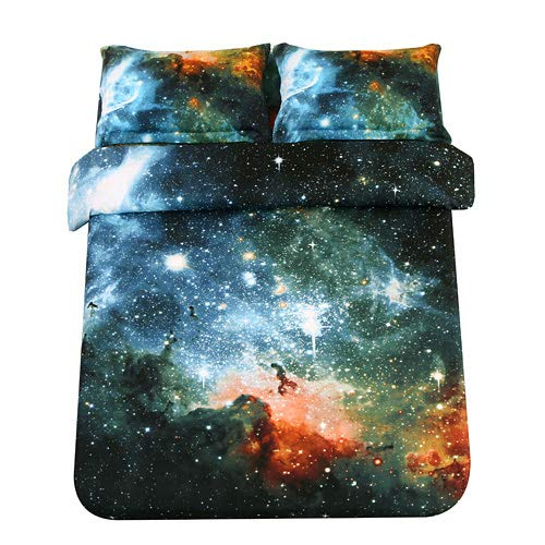 Sandyshow Galaxy Quilt Cover Galaxy Duvet Cover Galaxy Sheets Space Sheets Outer Space Bedding Set Fitted/Flat Sheet with 2 Matching Pillow Cases Queen Size(Comforter Not Include) (Fitted Sheet, 2) (Queen Duvet Cover Space)