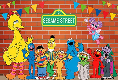 ERIC 7x5FT Colored Flag Red Brick Wall Photography Backdrops Sesame Street First 1st Second 2nd Third 3rd Boy Girl Birthday Party Banner Baby Shower Photo Background Supplies Decoration ()