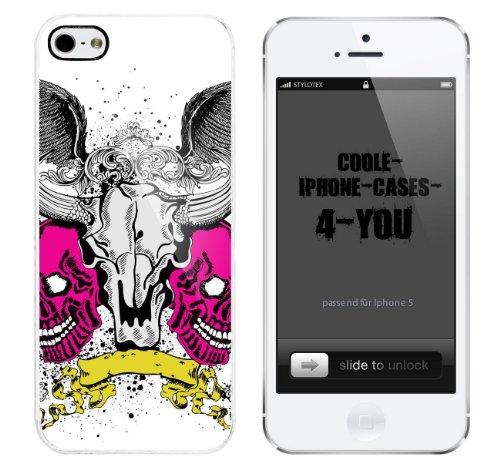 Iphone 5 / 5S Schutzhülle Pair of Skulls - weisser Rahmen