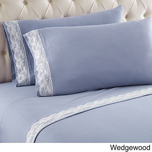 Shavel Home Products Flannel Lace Edge Sheet Sets Wedgewood Blue 4 Piece (Lace Flannel Bedding)