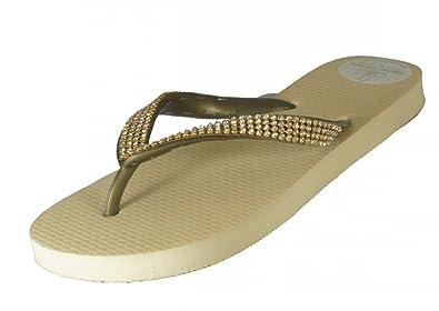 Designer Luxus Flip Flops-Chanclas Exclusivas Simone Herrera-Diamond Line-Aida-Riemchen Sandale Zehentrenner (41/42) F6Q2RTVHm