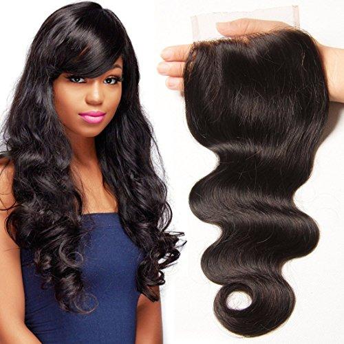 UNICE Hair Brazilian Body Wave Virgin Hair 4x4 Lace Closure Free Part Natural Black (12inch Free Part)