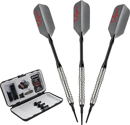 Viper V-Factor 90% Tungsten Soft Tip Darts with Storage/Travel Case, Ringed, 18 Grams