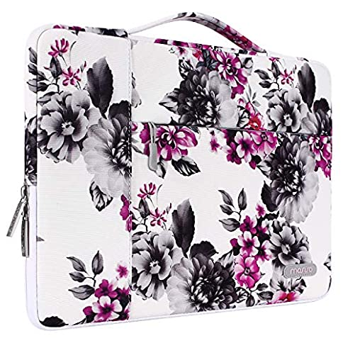 - 51CUM3N0vNL - MOSISO Laptop Briefcase Handbag Compatible 13-13.3 Inch MacBook Air, MacBook Pro, Notebook Computer, Polyester Multifunctional Carrying Sleeve Case Cover Bag, Chrysanthemum on White Base