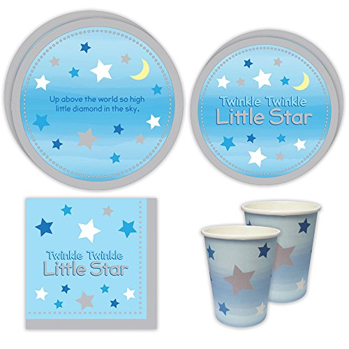 Twinkle Twinkle Boy Standard Party Packs (65+ Pieces for 16 Guests!), Baby Shower Supplies, Birthday, Twinkle Twinkle Little Star, Party Decorations, ()