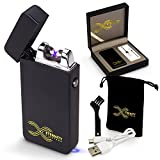 ETERNITY Lighters™: Flameless Electronic Rechargeable Windproof Premium Cigarette or Candle Lighter with Dual Arc, USB Cord, Brush, and Bag in Gift Box (Matte Black)