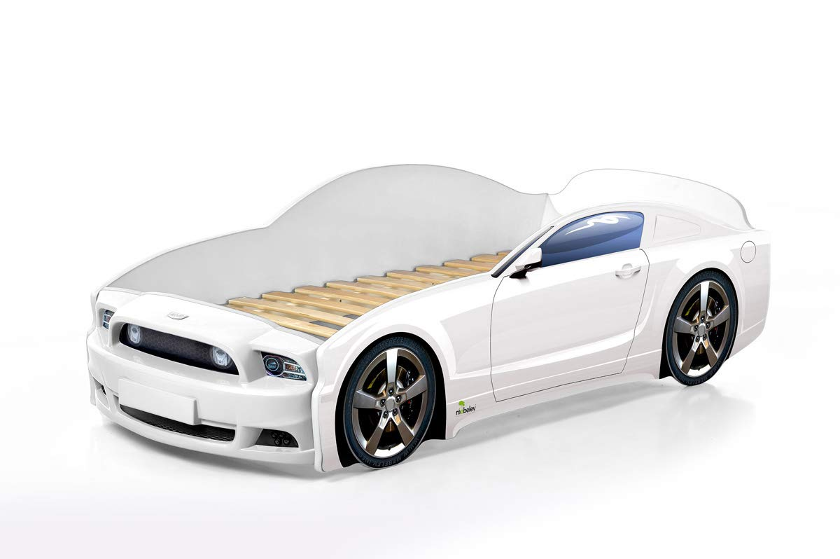 wei/ß Kinderbett Babybett Jugendbett Autobett Bett 5 FARBEN Mustang PLUS FULL 184,5//74 cm