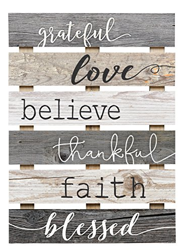 Grateful Love Believe Thankful Faith Blessed Grey 17 x 24 Inch Solid Pine Wood Skid Wall Plaque Sign