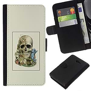 LECELL--Cuero de la tarjeta la carpeta del tirón Smartphone Slots Protección Holder For Sony Xperia M2 -- Dos cráneo Faced --