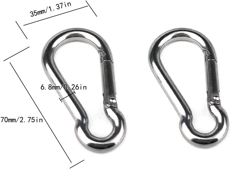 Wire Rope Crane Pulley Block Hanging Wire Towing Wheel 2PCS M20 304 Stainless Steel Single Pulley Block and 2PCS M7 Spring Snap Hook M20