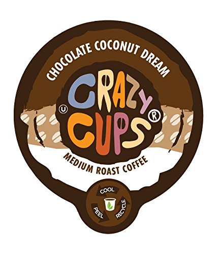 Crazy Cups Flavored Coffee, Chocolate Coconut Dream, Single Serve Cups for Keurig K Cup Brewers, 22 Count - Perfect Cup Chocolate Coffee
