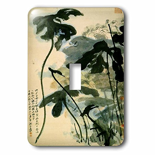 Florene Asian - Picture Of Ancient Chinese Lotus Painting - Light Switch Covers - single toggle switch ()