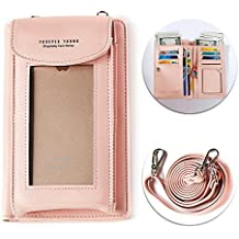 "Pink Phone Wallet Case,Multi-purpose Long Style PU Leather Clutch Handbag Purse Cellphone Case for iPhone 7/7Plus/6S /6 /6Plus/5/5C Galaxy S6/S6 Edge/8/8 Plus 5.5""inch(Wrist/Shoulder Strap),Light Pink"