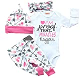 gllive Baby Girls Clothes Long Sleeve Miracles Romper Outfit Pants Set +Hat+Headband (0-6 months, pink)