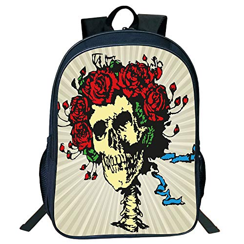 Personal Tailor Black Double-deck Rucksackk,Rose,Tattoo Art Style Graphic Skull in Red Flowers Crown Halloween Composition Print Decorative,Beige Multicolor,for Kids,Diversified Design.15.7