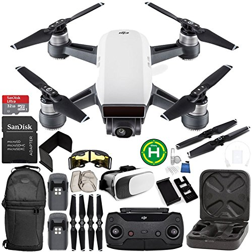 DJI Spark Portable Mini Drone Quadcopter (Alpine White) + DJI Spark Remote Controller EVERYTHING YOU NEED Essential Bundle