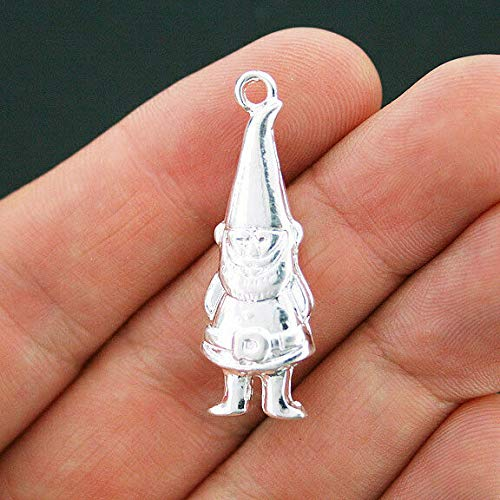 Extensive Collection of Charm 2 Garden Gnome Charms Silver Plated 3D Large Elf Charms - SC3839 Express Yourself