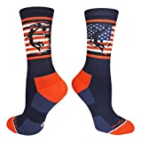 MadSportsStuff USA Flag Basketball Player Crew Socks (Navy/Red/White, Medium)