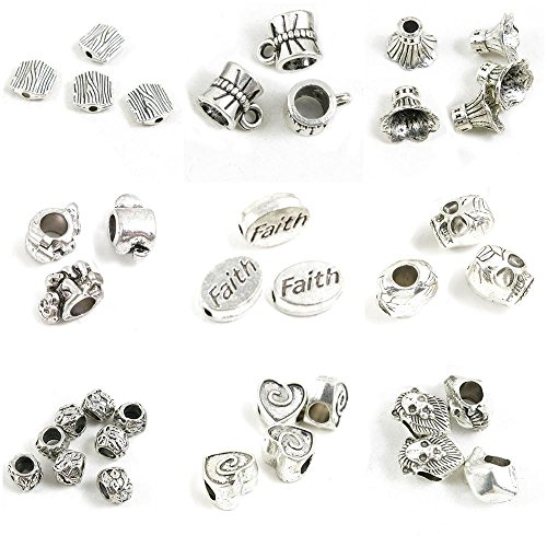 37 Pieces Antique Silver Tone Jewelry Making Charms Lion Loose Beads Love Heart Pattern Skull Head Faith Monkey Flower Spacer Bead Caps Bow Knot Tube Bail Cord Ends Stripes
