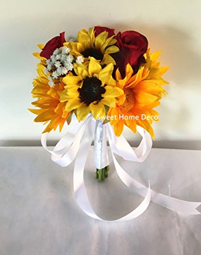 Bouquets Bridal Sunflower (Sweet Home Deco Silk Sunflower Rose Babysbreath Wedding Bouquet Bridal Bouquet Bridesmaid Bouquet Boutonnere in Yellow/Red (Yellow/Red-8''W Bouquet))