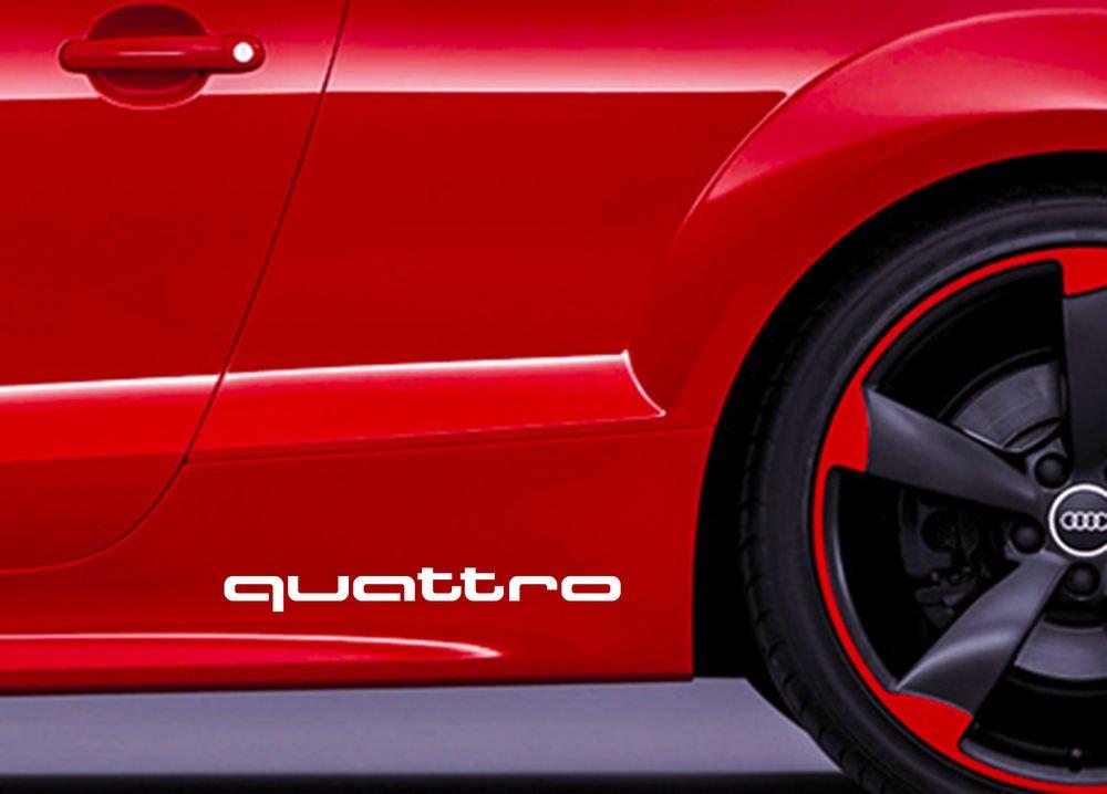 2x Quattro Aufkleber Sticker Decal 20x2.2cm Audi Die Cut Audi Sport R8 TT A1 A3 A8 Q5 Q7 RS Auto Car Racing Design&Style