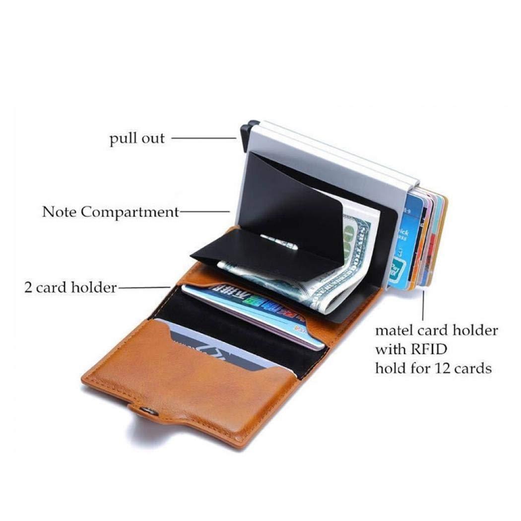 UNYU RFID Credit Card Holder - Cartera para hombre Hombre Negro Black Smooth Leather Talla única: Amazon.es: Ropa y accesorios