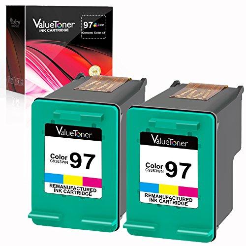 Valuetoner Remanufactured Ink Cartridge Replacement for HP 97 C9349FN C9363WN (2 Tri-Color) 2 (6200 Printer Inkjet Cartridge)