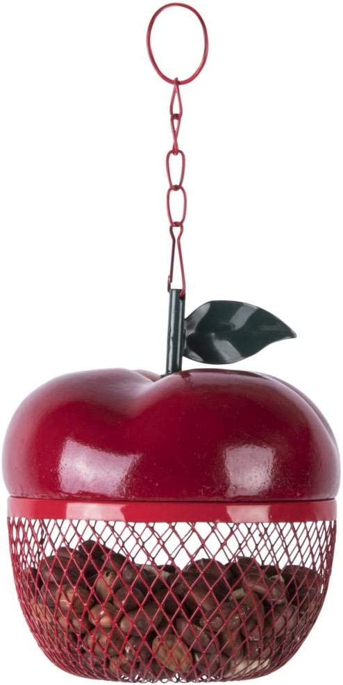 Esschert Design FB425 Apple Hanging Mesh Bird Feeder, Red