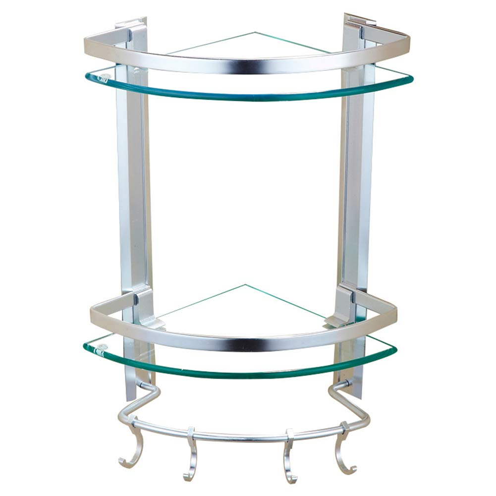 ZHANWEI Bathroom Shelf Shower Organiser Wall-Mounted Triangle Basket Corner Tower Hanger Tempered Glass Hook Up Space Aluminum Toilet 2 Tiers (Color : 24x44cm)