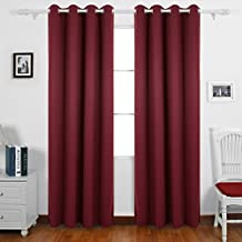 Deconovo Room Darkening Panel Thermal Insulated Blackout Window Curtains For Decoration Red 55 X 95 Inch 1 Pair