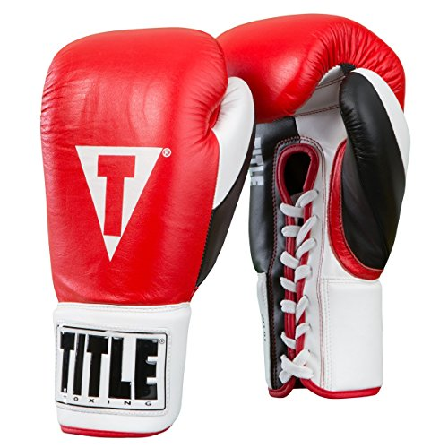 Title Boxing Great Official Pro Fight Gloves, Red/White/Black, 10 oz