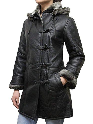 - ABSY Womens Shearling Sheepskin Genuine Leather Warm Winter Duffel Coat (3X-Large 18)