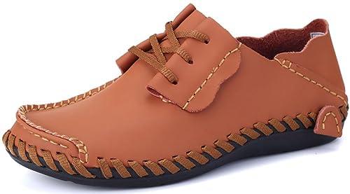 Phefee Mocasines de Cuero de los Hombres Zapatos Ocasionales de los Hombres Mocasines Planos Clásicos Zapatos Slip on Zapatos de Vestir para Hombre: ...