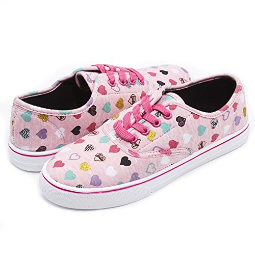 Mattel Barbie Junior Teen Girls Pink Multi Heart Low Top Canvas Sneakers 8