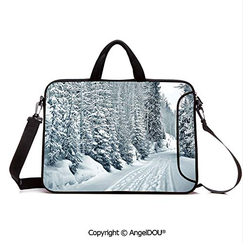 (AngelDOU Customized Neoprene Printed Laptop Bag Notebook Handbag Ski Themed Snowy Road Cold Parts of The World Footprints Colorado United States Compatible with mac air mi pro/Lenovo/asus/acer)