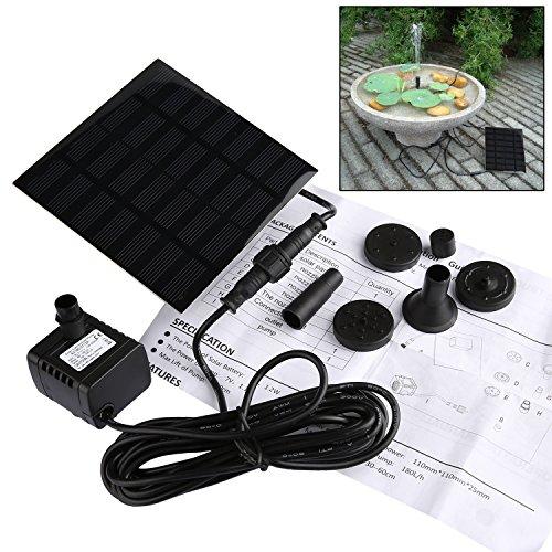 Liqoo® Solar Pumpe Springbrunnen Teichpumpe für Garten , Wasserpumpe für Miniteich mit 4 Verschiedenen Düsen , 180 L / h ; Höhe 0,6 m ; 1,1 W