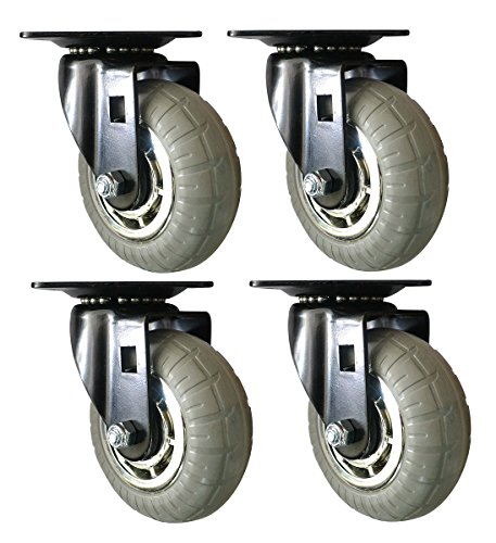 Headbourne 8268E Designer Casters 3 inch Soft Rubber Chrome & Black Designer Caster, 4 Pack