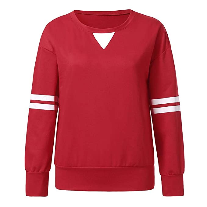 Amazon.com: ZJSWCP Sweatshirt Women Stripe Patchwork Long Sleeve Sweatshirt Pullover Shirt Tops Blouse Manteau Femme Hiver Sudaderas Mujer Moleton 5: ...