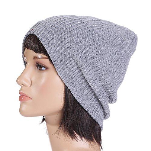 esquí de señoras hombres Los de tapas tejidos ' exterior beanie sombreros punto Otoño caliente Halloween sombreros rayas gorros marrón sombreros Navidad mujeres Light finas MASTER Gray Invierno qwxBHAC6I