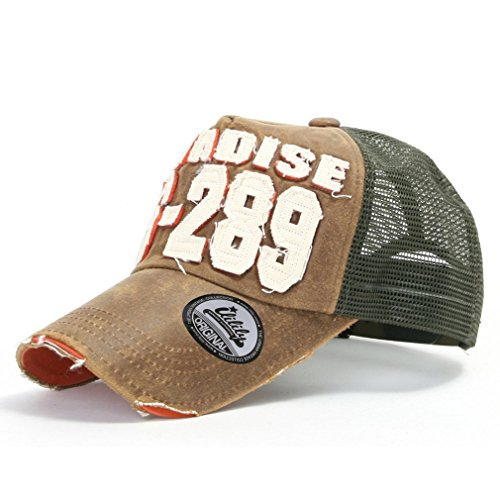 Canvas Distressed Cap - ililily Distressed Vintage Pre-curved Mesh Baseball Cap with Adjustable Strap Snapback Trucker Hat - 440-4