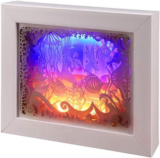 3D Caja De Luz Papercut, Papel Creativa LED Talla Luz De La Noche ...