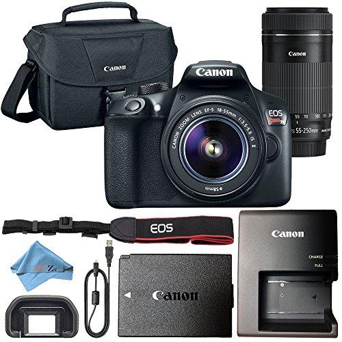 Canon EOS Rebel T6 18MP Digital SLR Camera Retail Packaging Bundle (18-55mm & 55-250mm Premium Bundle)
