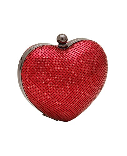 Whiting & Davis Heart Clutch,Red,one size by Whiting & Davis
