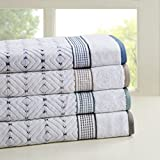 Madison Park Mikka 6 Piece 100% Cotton Yarn Dyed Towel Set Blue See below