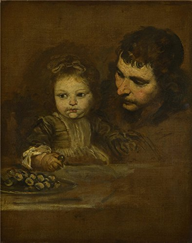 Oil Painting 'Spanish A Man And A Child Eating Grapes ' Printing On Polyster Canvas , 18 X 23 Inch / 46 X 58 Cm ,the Best Wall Art Artwork (Marvel Jewel Costume)