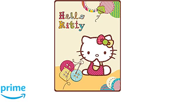 HK - Manta para Cochecito de bebé, diseño de Hello Kitty, en Caja de Regalo, 80 x 110 cm, poliéster, Amarillo, 80 x 110 cm: Amazon.es: Hogar