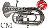 BRASS MUSICAL INSTRUMENT 4 VALVE EUPHONIUM BRASS MADE NICKEL FOR LEARNER & BIGGNER STUDENT WITH CUSHIONED HARD CASE BY S CHOPRA
