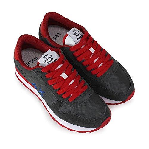 SUN68 Herren Schuhe Sneaker Running Bicolor Nylon Grau/Rot Frühling-Sommer 2018