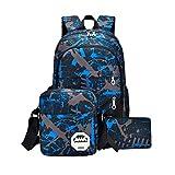 Waterproof Oxford Fabric Backpack+Shoulder Bag +Handbag, Durable Travel Bag School Bag (blue): more info
