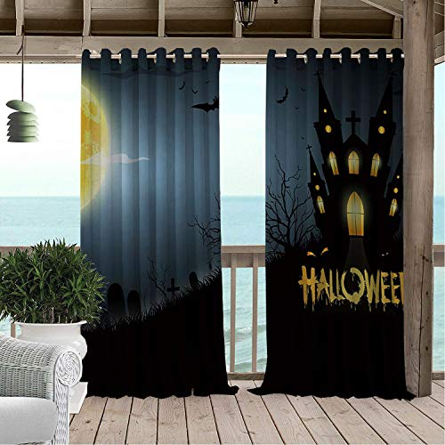 Linhomedecor Gazebo Waterproof Curtains Halloween Moon Castle pergola Grommets Adjustable Curtain 84 by 96 -